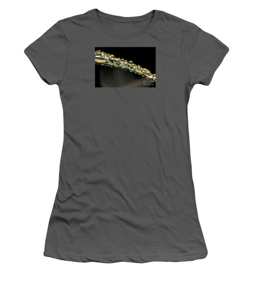 Women's T-Shirt (Junior Cut) featuring the photograph Drops On The Green Grass by Odon Czintos