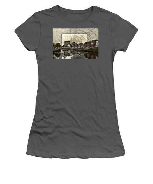 Dublin Skyline Mapped Women's T-Shirt (Athletic Fit)
