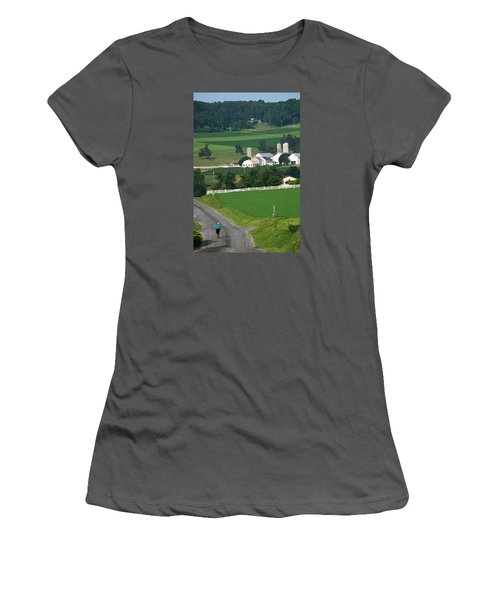 Dutch Country Bike Ride Women's T-Shirt (Junior Cut) by Lawrence Boothby