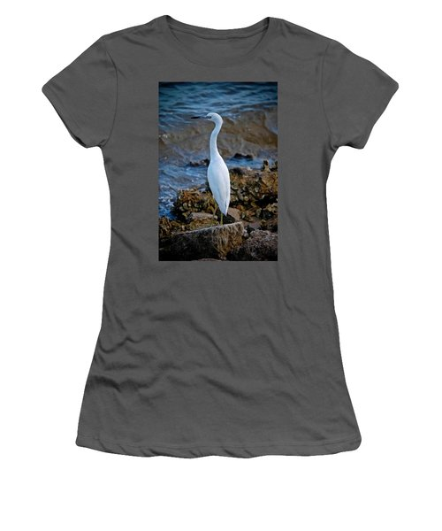 Eager Egret Women's T-Shirt (Junior Cut) by DigiArt Diaries by Vicky B Fuller