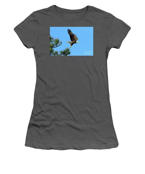 Women's T-Shirt (Junior Cut) featuring the photograph Eagle Series 1 2017 by Deborah Benoit