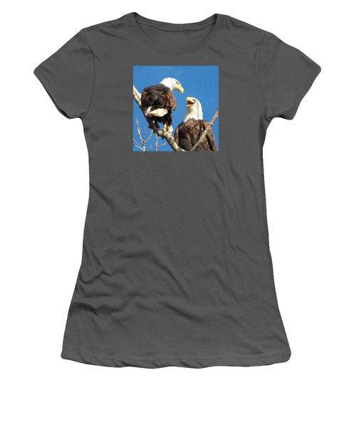 Eagles - Grafton, Illinois Women's T-Shirt (Junior Cut) by John Freidenberg