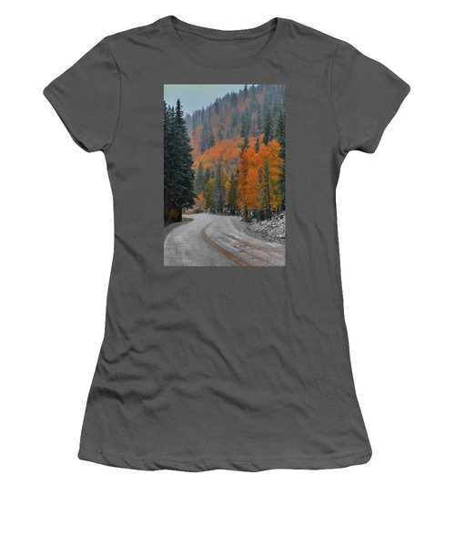 Women's T-Shirt (Junior Cut) featuring the photograph Early Snow by Dana Sohr
