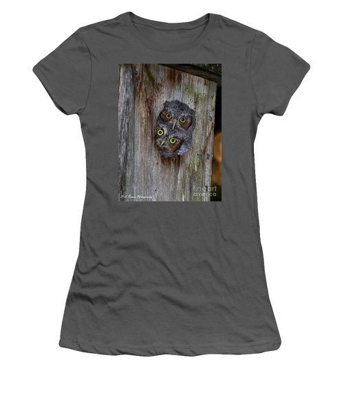 Eastern Screech Owl Chicks Women's T-Shirt (Athletic Fit)