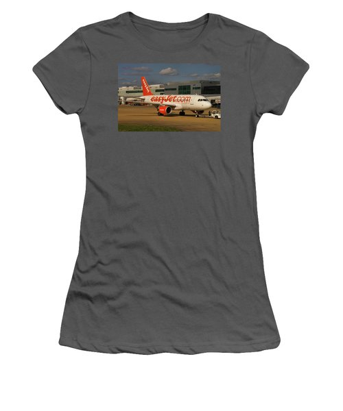 Women's T-Shirt (Junior Cut) featuring the photograph Easyjet Airbus A319-111  by Tim Beach