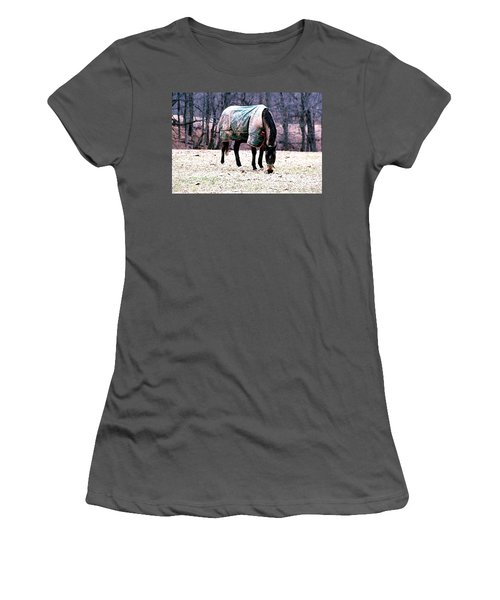 Women's T-Shirt (Junior Cut) featuring the photograph Eatin' Snowy Grass by Polly Peacock