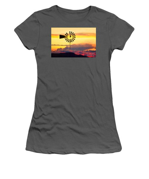 Eclipse Windmill In The Sunset Clouds Women's T-Shirt (Junior Cut) by Wernher Krutein