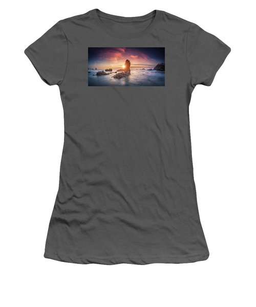 Women's T-Shirt (Athletic Fit) featuring the photograph Ecola State Park Beach Sunset Pano by William Lee