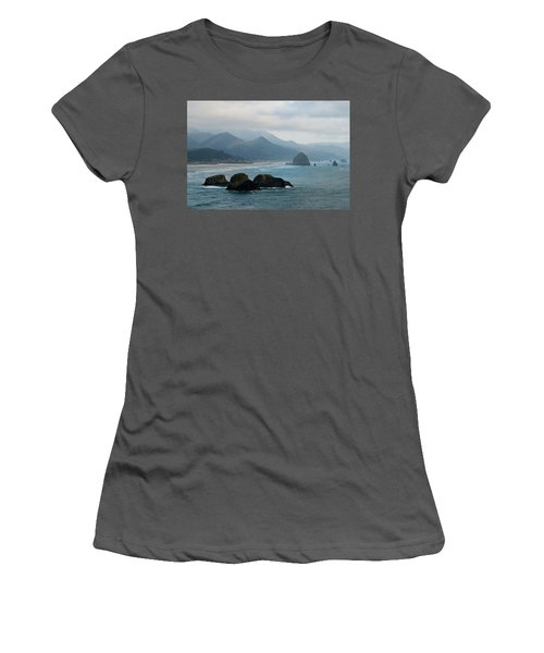 Ecola State Park View Of Haystack Rock And 3 Arch Rocks Women's T-Shirt (Athletic Fit)