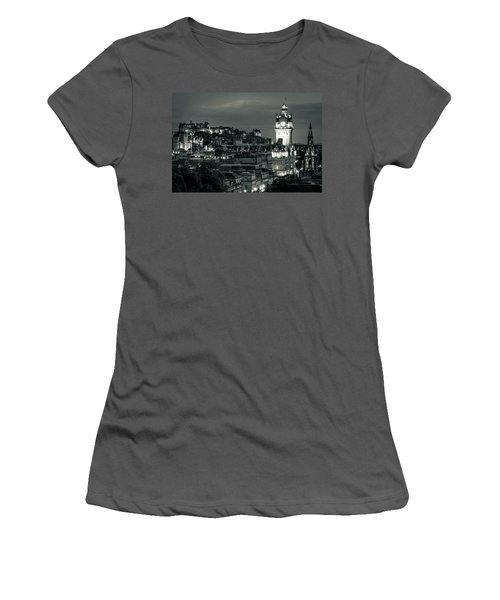Edinburgh In Black And White Women's T-Shirt (Athletic Fit)