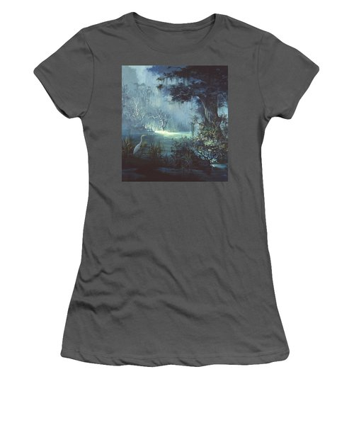Women's T-Shirt (Junior Cut) featuring the painting Egret In The Shadows by Michael Humphries