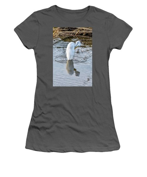 Egret Standing In A Stream Preening Women's T-Shirt (Athletic Fit)