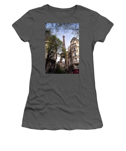 Women's T-Shirt (Junior Cut) featuring the photograph Eiffel Tower 2b by Andrew Fare