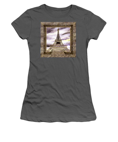 Women's T-Shirt (Athletic Fit) featuring the painting Eiffel Tower Laces Iv  by Irina Sztukowski