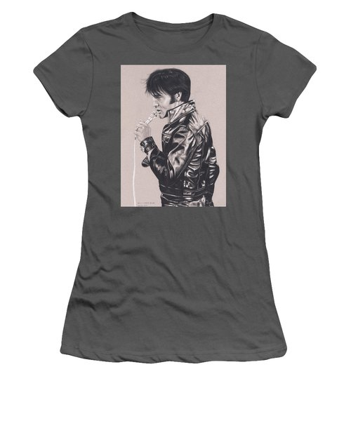 Elvis In Charcoal #177, No Title Women's T-Shirt (Athletic Fit)