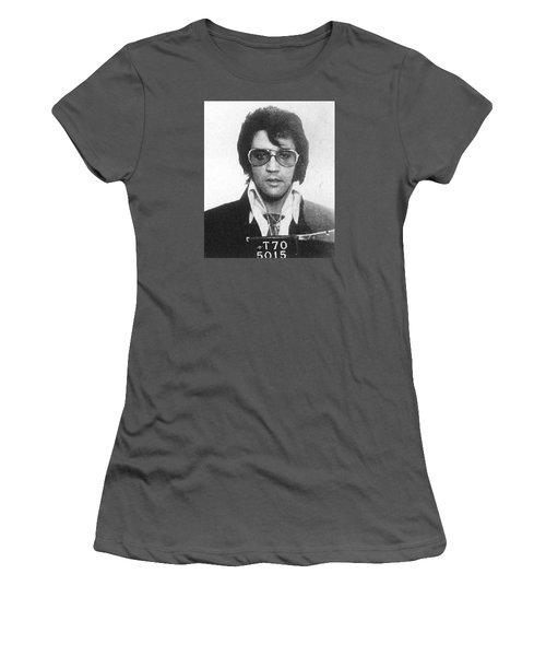 Elvis Presley Mug Shot Vertical Women's T-Shirt (Junior Cut) by Tony Rubino