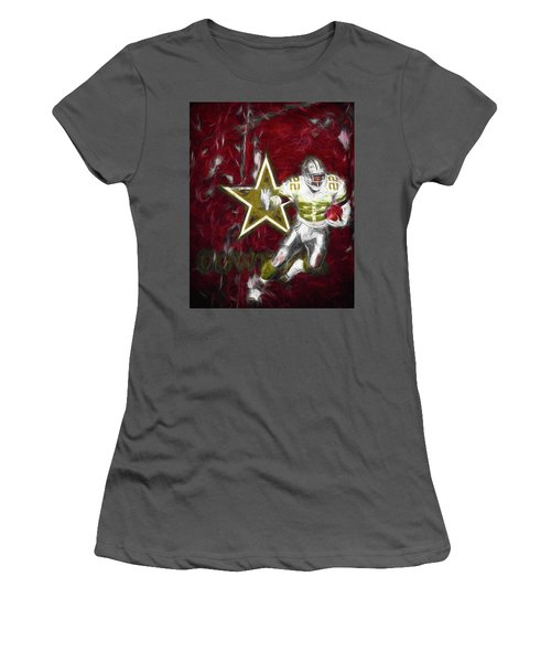 Women's T-Shirt (Junior Cut) featuring the photograph Emmitt Smith Nfl Dallas Cowboys Gold Digital Painting 22 by David Haskett