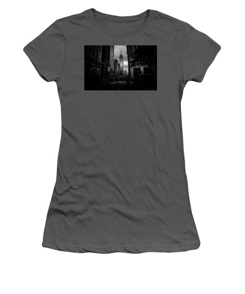 Women's T-Shirt (Junior Cut) featuring the photograph Empire State Building Bw by Marvin Spates