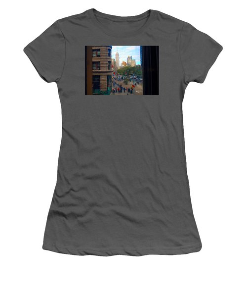 Women's T-Shirt (Junior Cut) featuring the photograph Empire State Building - Crackled View 2 by Madeline Ellis
