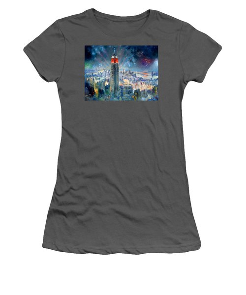 Empire State Building In 4th Of July Women's T-Shirt (Athletic Fit)