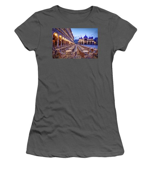 Empty Cafe On Piazza San Marco - Venice Women's T-Shirt (Athletic Fit)