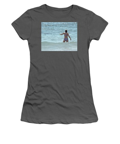 Entering Waves Of Pacific Ocean Women's T-Shirt (Athletic Fit)
