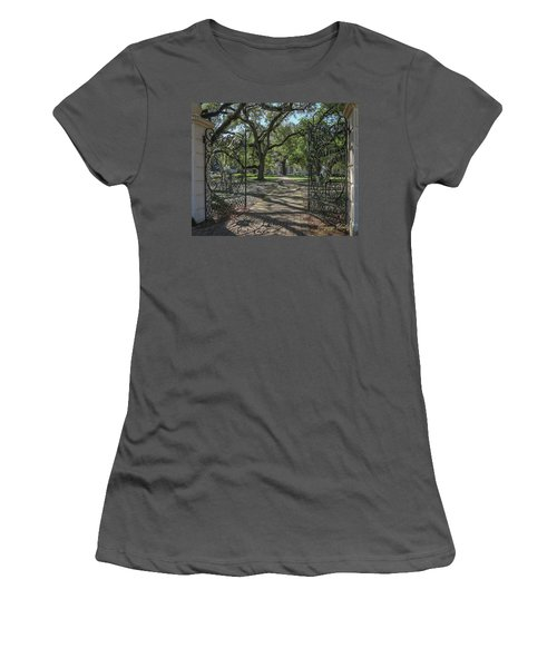 Women's T-Shirt (Junior Cut) featuring the photograph Entrance Gate To Ul Alum House by Gregory Daley  PPSA