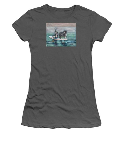Erin And Oakie On The Paddle Board Women's T-Shirt (Athletic Fit)