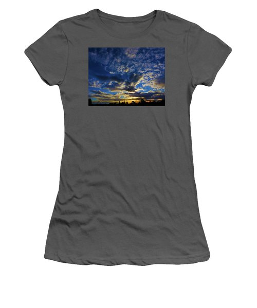 Women's T-Shirt (Athletic Fit) featuring the photograph Erupting Sunset by Mark Blauhoefer