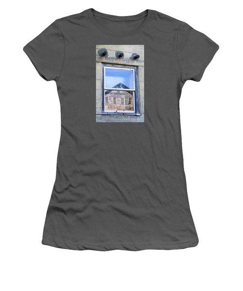 Women's T-Shirt (Junior Cut) featuring the photograph Estey Window Reflection by Tom Singleton