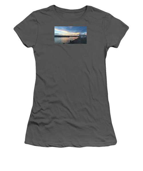 Women's T-Shirt (Athletic Fit) featuring the photograph Evening At The Bay by Nareeta Martin
