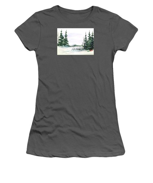 Evergreens In Snow Women's T-Shirt (Junior Cut) by Dorothy Maier