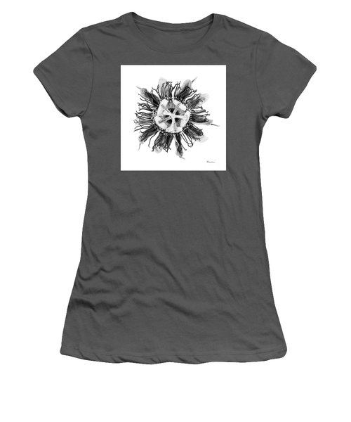 Expressive Passion Flower In Grayscale 50674g Women's T-Shirt (Athletic Fit)