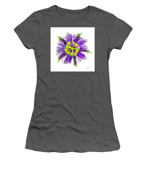 Expressive Yellow Green And Violet Passion Flower 50674a Women's T-Shirt (Athletic Fit)