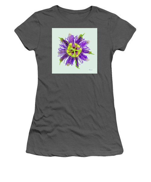 Expressive Yellow Green And Violet Passion Flower 50674l Women's T-Shirt (Athletic Fit)