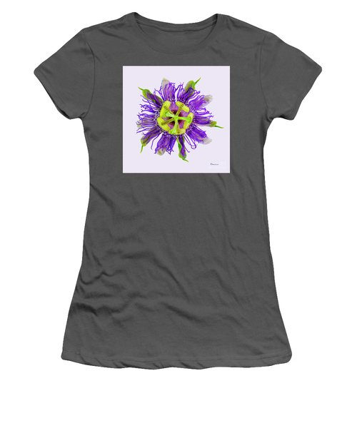 Expressive Yellow Green And Violet Passion Flower 50674v Women's T-Shirt (Athletic Fit)