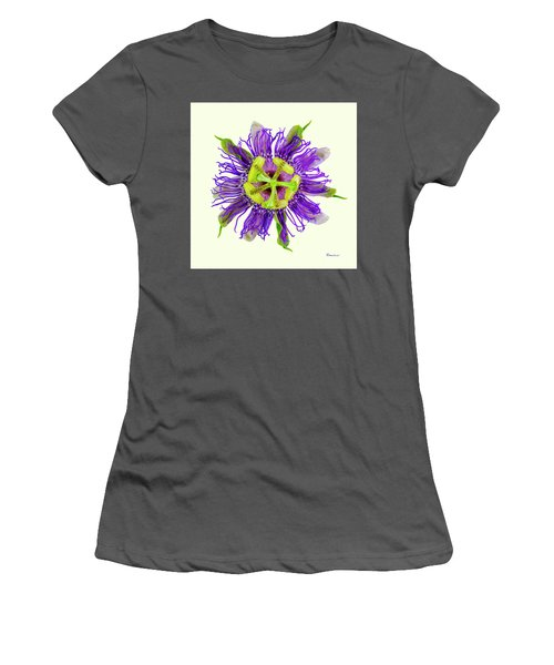 Expressive Yellow Green And Violet Passion Flower 50674y Women's T-Shirt (Athletic Fit)