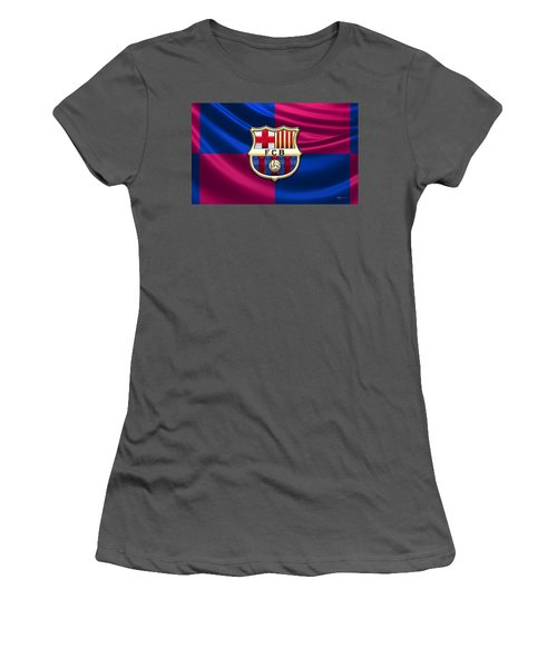 F. C. Barcelona - 3d Badge Over Flag Women's T-Shirt (Athletic Fit)