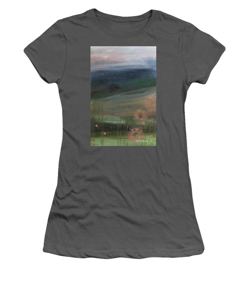 Women's T-Shirt (Athletic Fit) featuring the painting Faded Days Gone By by Robin Maria Pedrero