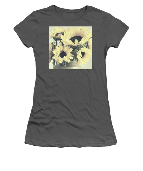 Faded Sunflowers Women's T-Shirt (Athletic Fit)