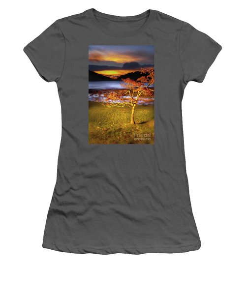 Women's T-Shirt (Junior Cut) featuring the painting Fall Colors At Sunrise In Otter Blue Ridge Ap by Dan Carmichael