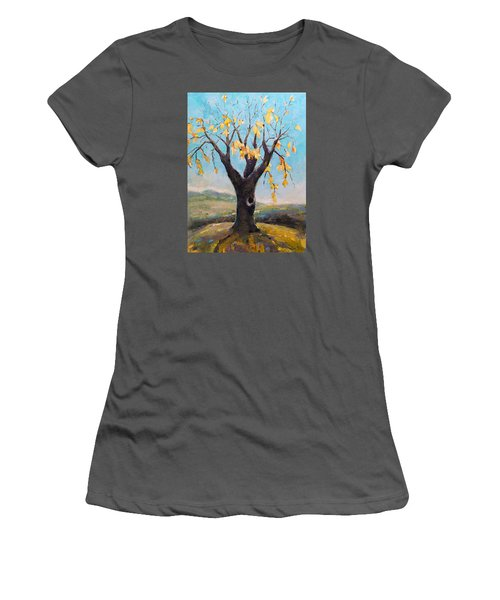 Women's T-Shirt (Junior Cut) featuring the painting Fall Tree In Virginia by Becky Kim