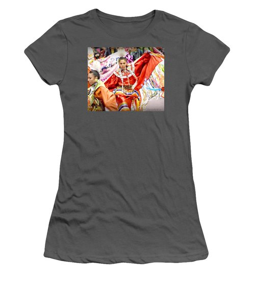 Women's T-Shirt (Junior Cut) featuring the photograph Fancy Shawl Dancers by Clarice Lakota