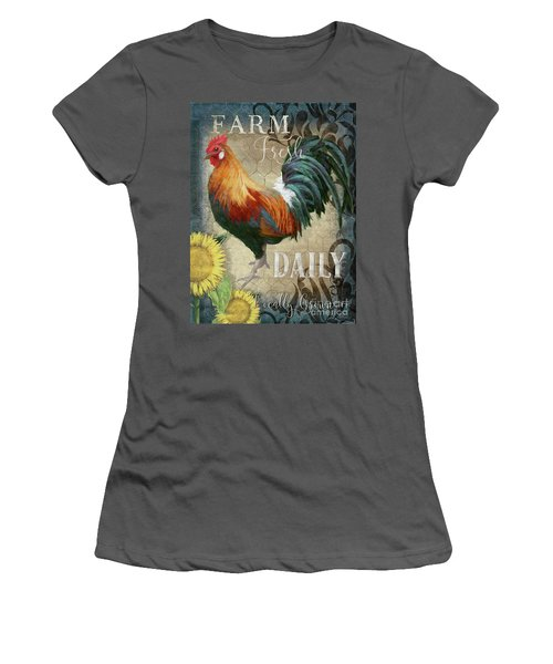 Women's T-Shirt (Athletic Fit) featuring the painting Farm Fresh Daily Red Rooster Sunflower Farmhouse Chic by Audrey Jeanne Roberts
