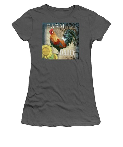 Women's T-Shirt (Athletic Fit) featuring the painting Farm Fresh Red Rooster Sunflower Rustic Country by Audrey Jeanne Roberts