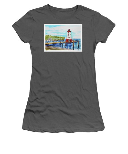 Women's T-Shirt (Athletic Fit) featuring the painting Faro Blanco Lighthouse Florida Keys by Irina Sztukowski