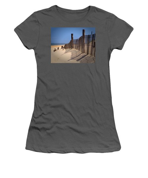 Fenwick Dune Fence And Shadows Women's T-Shirt (Athletic Fit)