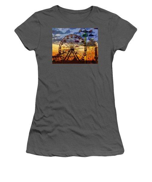 Women's T-Shirt (Junior Cut) featuring the digital art Ferris At Dusk by David Lee Thompson