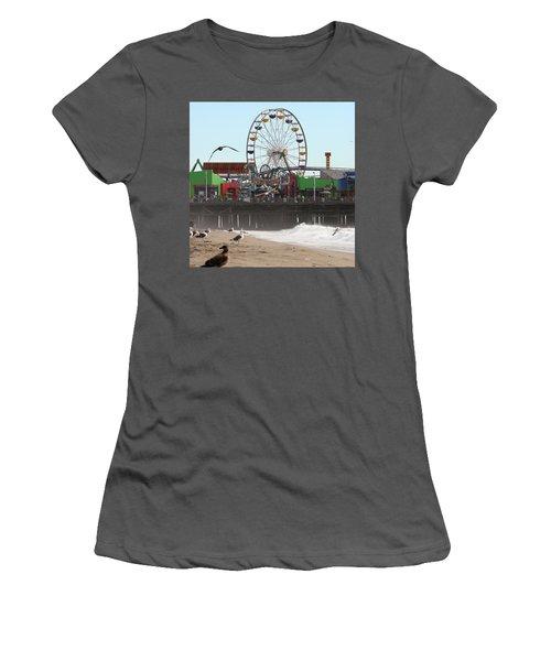 Ferris Wheel At Santa Monica Pier Women's T-Shirt (Athletic Fit)