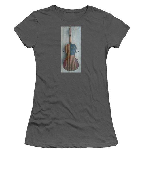 Fiddle Thirteen Star Flag Women's T-Shirt (Athletic Fit)